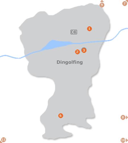 Karte mit Pensionen und anderen Unterkünften in Dingolfing