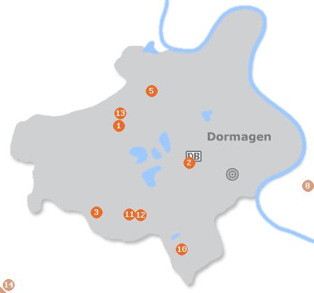 Karte mit Pensionen und anderen Unterkünften in Dormagen