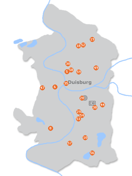 Karte mit Pensionen und anderen Unterkünften in Duisburg