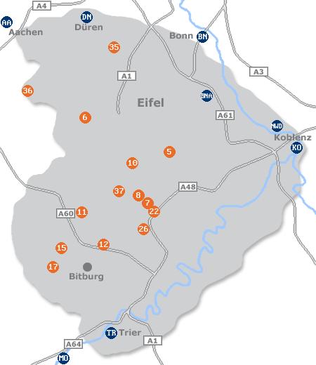Karte mit Pensionen und anderen Unterkünften in der Eifel