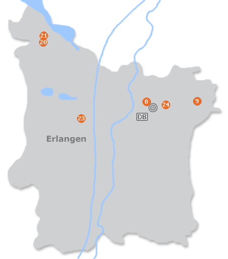 Karte mit Pensionen und anderen Unterkünften in Erlangen