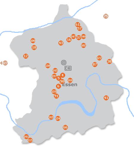 Karte mit Pensionen und anderen Unterkünften in Essen