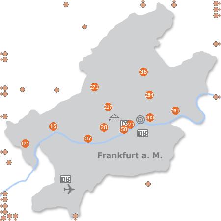 Karte mit Pensionen und anderen Unterkünften in Frankfurt a. M.