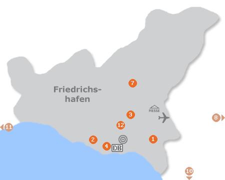 Karte mit Pensionen und anderen Unterkünften in Friedrichshafen