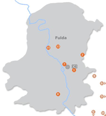 Karte mit Pensionen und anderen Unterkünften in Fulda