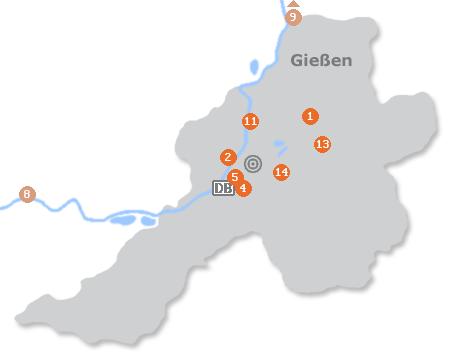 Karte mit Pensionen und anderen Unterkünften in Gießen