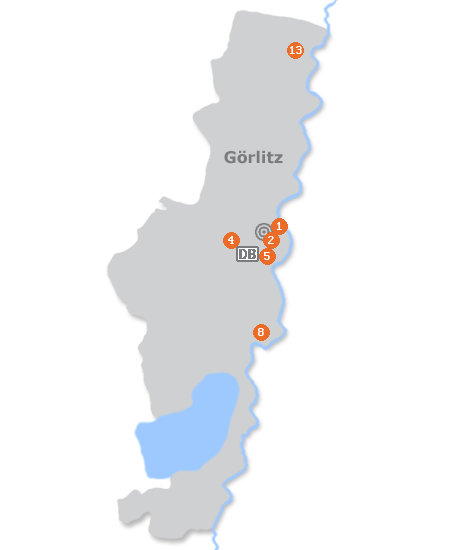 Karte mit Pensionen und anderen Unterkünften in Görlitz