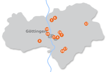 Karte mit Pensionen und anderen Unterkünften in Göttingen