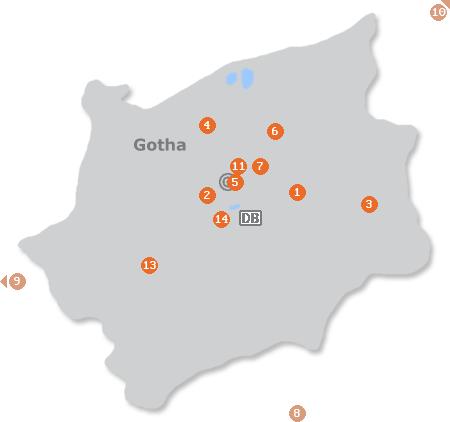 Karte mit Pensionen und anderen Unterkünften in Gotha