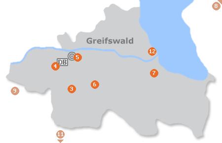 Karte mit Pensionen und anderen Unterkünften in Greifswald