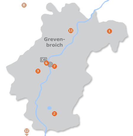 Karte mit Pensionen und anderen Unterkünften in Grevenbroich