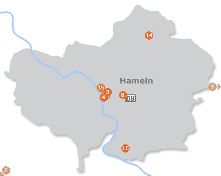 Karte mit Pensionen und anderen Unterkünften in Hameln