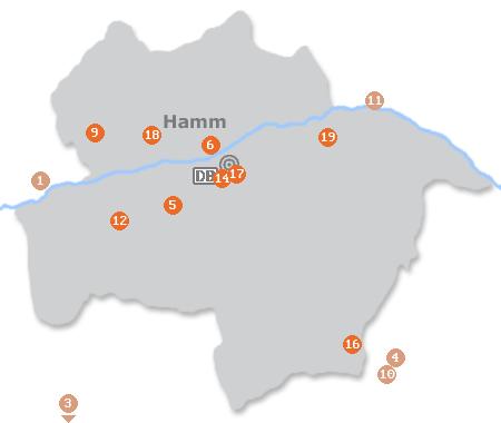 Karte mit Pensionen und anderen Unterkünften in Hamm