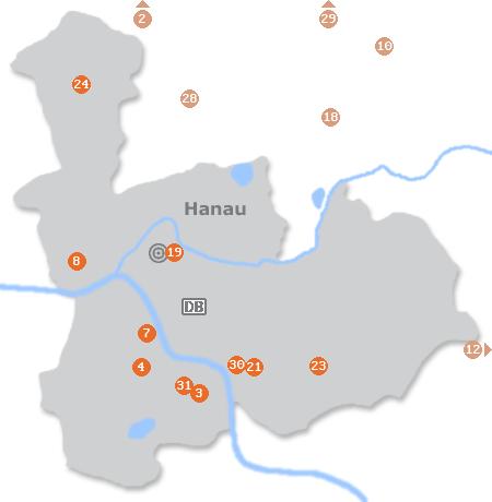 Karte mit Pensionen und anderen Unterkünften in Hanau