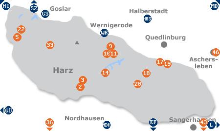 Karte mit Pensionen und anderen Unterkünften im Harz