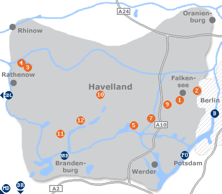Karte mit Pensionen und anderen Unterkünften im Havelland