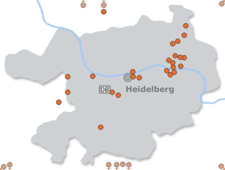Karte mit Pensionen und anderen Unterkünften in Heidelberg