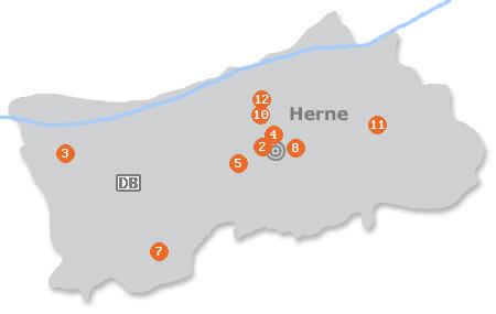 Karte mit Pensionen und anderen Unterkünften in Herne