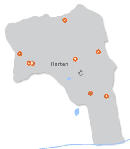 Karte mit Pensionen und anderen Unterkünften in Herten