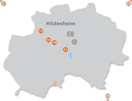 Karte mit Pensionen und anderen Unterkünften in Hildesheim