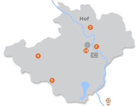 Karte mit Pensionen und anderen Unterkünften in Hof