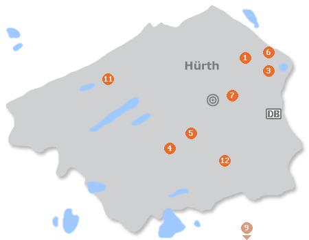Karte mit Pensionen und anderen Unterkünften in Hürth