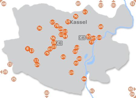 Karte mit Pensionen und anderen Unterkünften in Kassel
