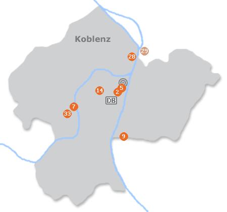 Karte mit Pensionen und anderen Unterkünften in Koblenz