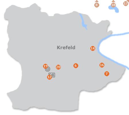 Karte mit Pensionen und anderen Unterkünften in Krefeld