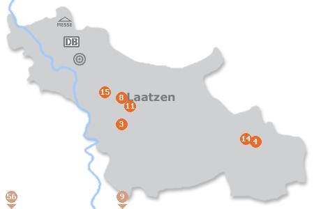 Karte mit Pensionen und anderen Unterkünften in Laatzen