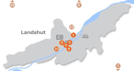 Karte mit Pensionen und anderen Unterkünften in Landshut