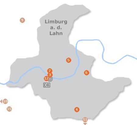 Karte mit Pensionen und anderen Unterkünften in Limburg an der Lahn