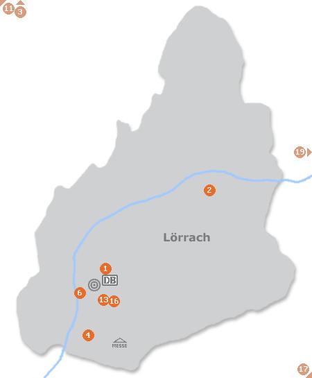 Karte mit Pensionen und anderen Unterkünften in Lörrach