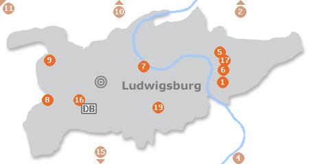 Karte mit Pensionen und anderen Unterkünften in Ludwigsburg