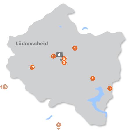 Karte mit Pensionen und anderen Unterkünften in Lüdenscheid