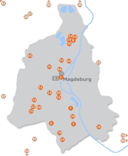 Karte mit Pensionen und anderen Unterkünften in Magdeburg