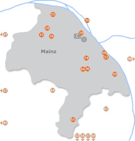 Karte mit Pensionen und anderen Unterkünften in Mainz
