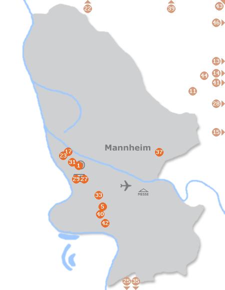 Karte mit Pensionen und anderen Unterkünften in Mannheim