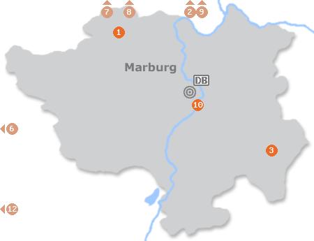 Karte mit Pensionen und anderen Unterkünften in Marburg