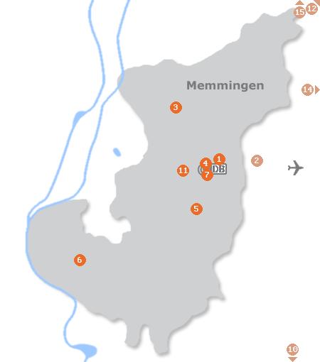 Karte mit Pensionen und anderen Unterkünften in Memmingen