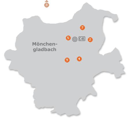 Karte mit Pensionen und anderen Unterkünften in Mönchengladbach