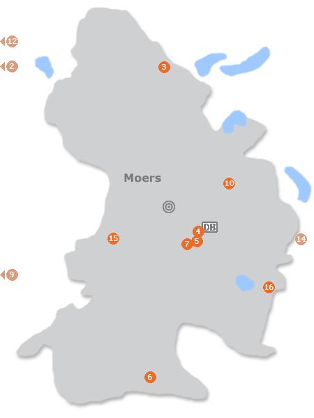 Karte mit Pensionen und anderen Unterkünften in Moers