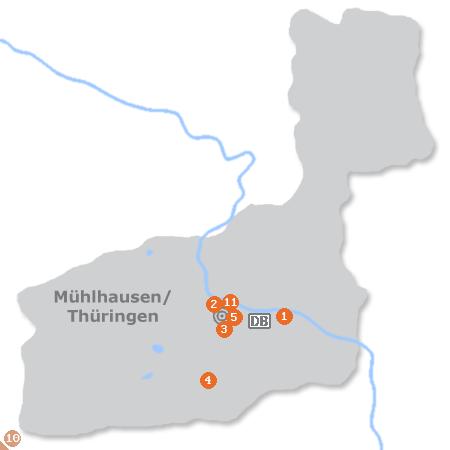 Karte mit Pensionen und anderen Unterkünften in Mühlhausen / Thüringen