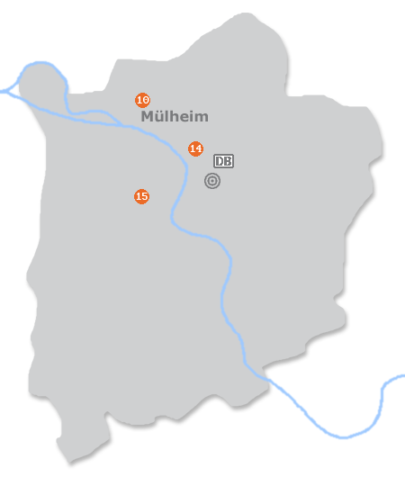 Karte mit Pensionen und anderen Unterkünften in Mülheim an der Ruhr