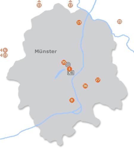 Karte mit Pensionen und anderen Unterkünften in Münster