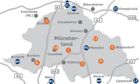 Karte mit Pensionen und anderen Unterkünften im Münsterland