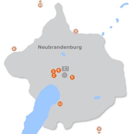 Karte mit Pensionen und anderen Unterkünften in Neubrandenburg