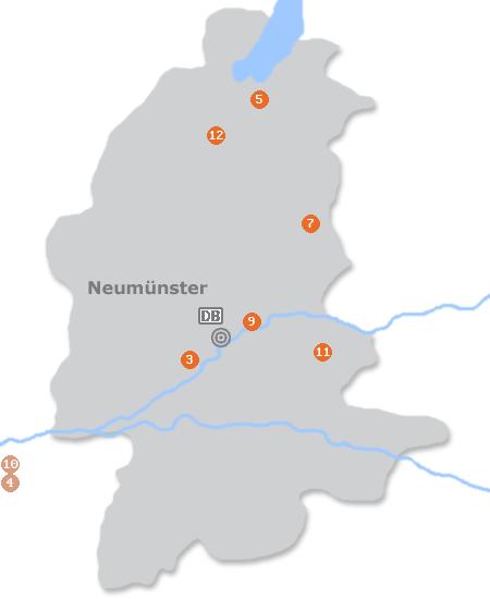 Karte mit Pensionen und anderen Unterkünften in Neumünster