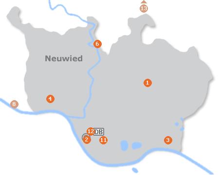 Karte mit Pensionen und anderen Unterkünften in Neuwied