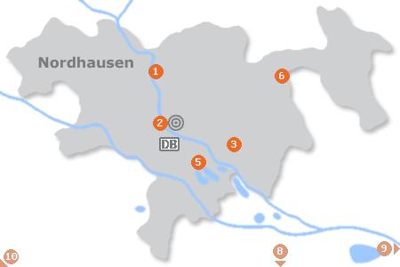 Karte mit Pensionen und anderen Unterkünften in Nordhausen